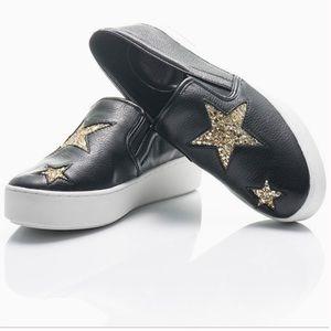 ✨ Michael Kors | Black Pia Glitter Star Slip-Ons